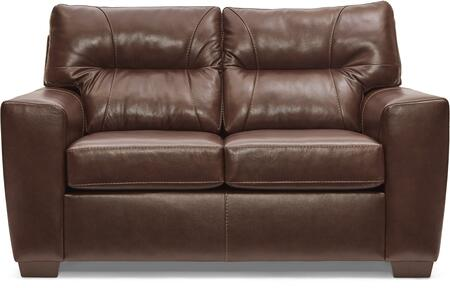 2043-02 SOFT TOUCH CHESTNUT 65″ Loveseat with Tufted Back Cushions and Leather Upholstery in
