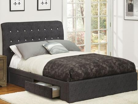Acme Furniture Drorit 25677EK Bed Gray, Angled View