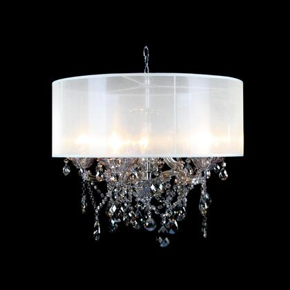 10423-GT-S 6-Light Chandelier with Metal and Crystal Materials and 40 Watts in Chrome