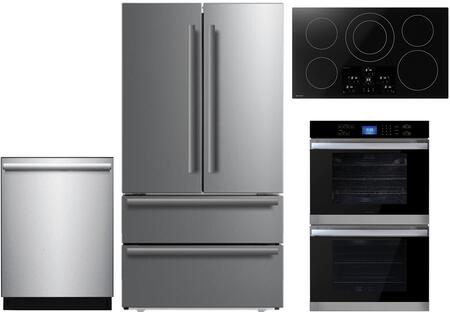 4 Piece Kitchen Appliances Package with SJG2351FS 36″ Counter Depth 4 Door French Door Refrigerator  SWB3052DS 30″ Electric Double Wall Oven