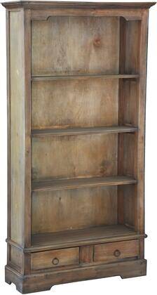 CC-CAB1918S-SV Storage Cabinet with Open Shelves  Wood Construction  Bracket Legs  Storage Drawers and Distress Detail  in
