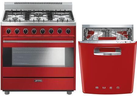 Smeg 974594 2 piece Red Kitchen Appliances Package