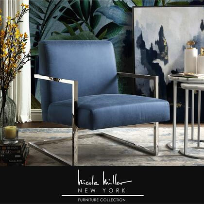 Xzavier Collection NAC104-01NY-AC Accent Chair with Square Arm  Stainless Steel Frame and PU Leather Upholstery in Navy and Chrome