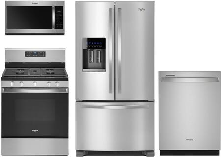 4 Piece Kitchen Appiances Package with WRF555SDFZ 36″ French Door Refrigerator  WEG515S0FS 30″ Slide-in Gas Range  WMH31017HZ 30″ Over the Range