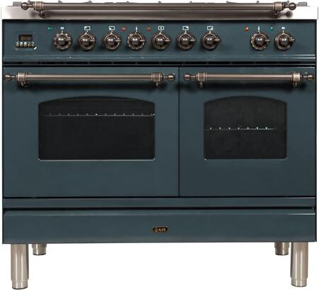 Ilve Nostalgie UPDN100FDMPGUY Freestanding Dual Fuel Range , Blue Grey Custom RAL Color
