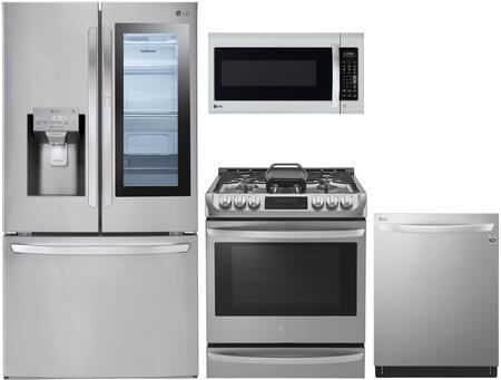 4 Piece Kitchen Appliances Package with LFXS28596S 36″ French Door Refrigerator  LSG4513ST 30″ Slide-in Gas Range  LMV2031ST 30″ Over the Range