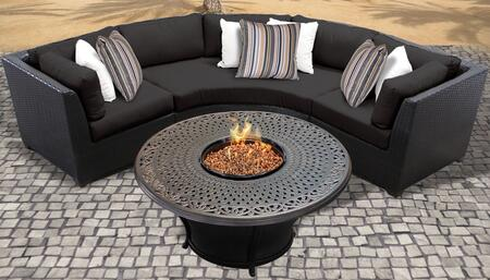 Barbados Collection BARBADOS-04f-BLACK 4-Piece Outdoor Set with 2 Corner Chairs  Curved Armless Chair and Charleston 48″ Round Firepit Table – Wheat