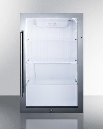 Summit SPR489OS 19 Indoor/Outdoor Beverage Refrigerator with 3.13 cu. ft. Capacity  Reversible Door  Professional Handle  LED Lighting  Factory Installed