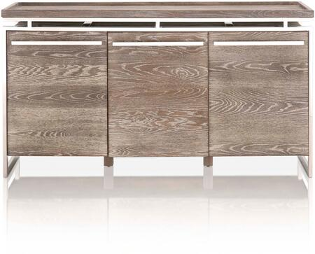 Bella Antique Collection 2456-BU.SWO 63″ Benson Buffet with 3 Drawers  Push-To-Open Door Function  Contemporary Style  Stainless Steel Handles and