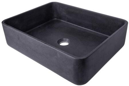EB_S047LS-H Thin Lip Rectangular Vessel Sink in Black Lava Stone with pop-up or Grid Drain in