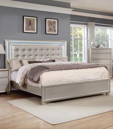 Myco Furnituremariano Collection Ma800 K Storage King Size Bed With Led With Led Lights And Faux Leather Headboard In Champagne Dailymail