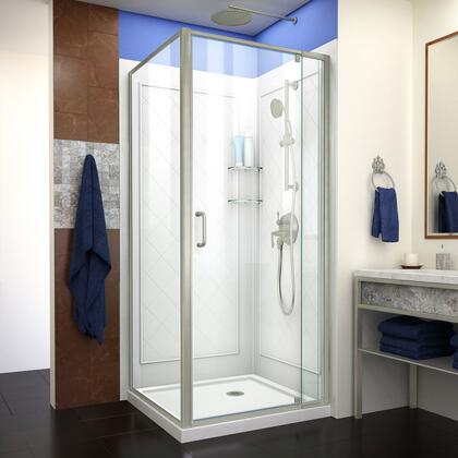 DL-6716-04CL Flex 32″ D x 32″ W x 76 3/4″ H Semi-Frameless Shower Enclosure in Brushed Nickel with White Base and