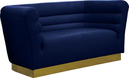 Bellini 669NAVY-L 67″ Loveseat with Piped Stitching  Gold Stainless Steel Base and Velvet Upholstery in