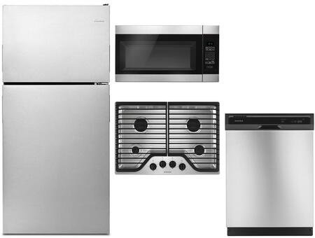 4 Piece Kitchen Appliances Package with ART308FFDM 30″ Top Freezer Refrigerator  AGC6540KFS 30″ Gas Cooktop  AMV2307PFS 30″ Over the Range Microwave