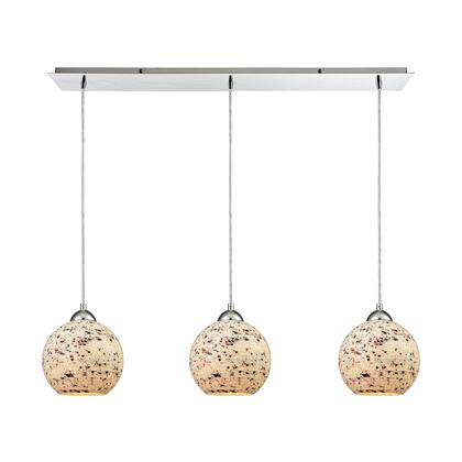 10741/3LP Spatter 3-Light Linear Pan in Polished Chrome with Spatter Mosaic Glass
