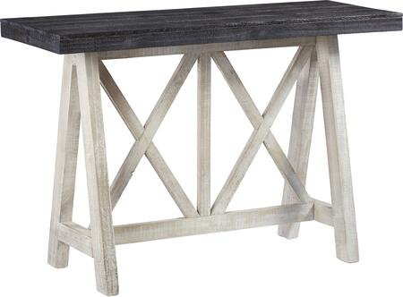 Evia Collection A734-70 48″ Console Table with Contrast Weathered Chalk White Base and Dark Chocolate Top in Winter