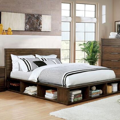 Torino Collection CM7543 King Bed With Slatted Headboard  Deep Wood Grain  Bookcase Skirt And Footboard In
