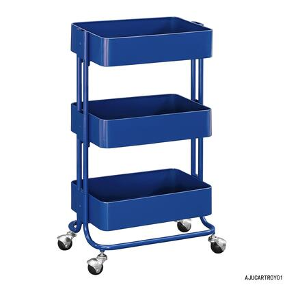 Linon AJUCARTROY01 Serving Carts, AJUCARTROY01 Three Tier Royal Blue Cart Front