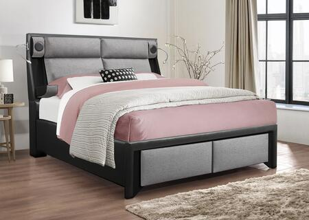 Global Furniture USA Global Furniture USA 9652BLPUGRQBWSTEREO&LIGHT Bed Black, 9652 bl pugr qb wstereolight