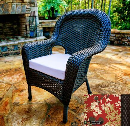 Sea Pines Collection LEX-DC-T-MONTF Dining Chair in Tortoise Wicker and Montfleur Sangria Fabric