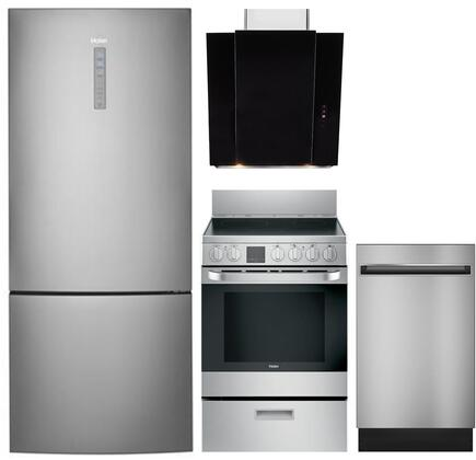4 Piece Kitchen Appliances Package with HRB15N3BGS 28″ Bottom Freezer Refrigerator  QAS740RMSS 24″ Electric Range  HCH2400ACB 24″ Wall Mount