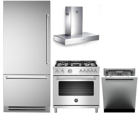 4 Piece Kitchen Appliances Package with REF36PIXL 36″ Bottom Freezer Refrigerator  MAST365GASXE 36″ Gas Range  K36CONX14 36″ Wall Mount Convertible