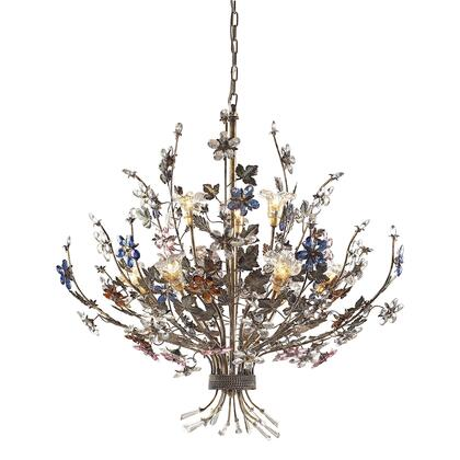 9108/6+3 Brillare 9-Light Chandelier in Brozed Rust with Multi-Colored Floral