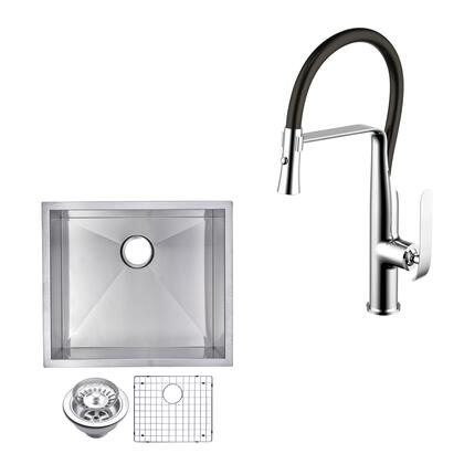 CF511-US-2320A 23″ X 20″ Zero Radius Single Bowl Stainless Steel Hand Made Undermount Kitchen Sink With Drain  Strainer  Bottom Grid  And Single Hole