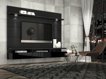 Manhattan Comfort Cabrini 2.2 23853 Entertainment Center Black, Cabrini Theater Panel  Black  23353, 23253
