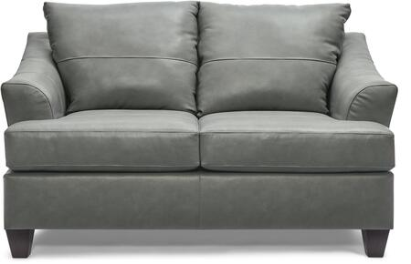 2063-02 SOFT TOUCH SILVER 63″ Loveseat with Tufted Back Cushions and Leather Upholstery in