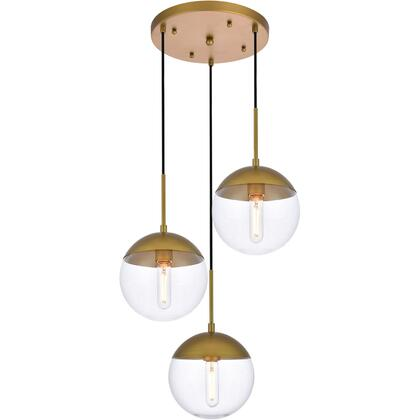 LD6073BR Eclipse 3 Light 18 inch Brass Pendant Ceiling Light With Clear White
