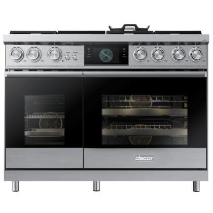 Dacor Contemporary DOP48M96DPS Freestanding Dual Fuel Range Stainless Steel, Front View