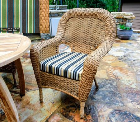 Sea Pines Collection LEX-DC-M-ECHO Dining Chair in Mojave Wicker and Echo Stripe Truffle Fabric