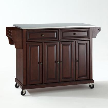 Full Size Kitchen Collection KF30002EMA Full Size Stainless Steel Top Kitchen Cart in Mahogany