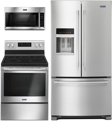 """3 Piece Kitchen Appliances Package with MFI2570FEZ 36"""" French Door Refrigerator MER6600FZ 30"""" Electric Range and MMV4206FZ 30"""" Over the Range"""