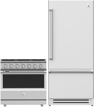 """2 Piece Kitchen Appliances Package with KRBR36 36"""" Counter Depth Bottom Freezer Refrigerator and KRD365NG 36"""" Freestanding Dual Fuel Gas Range in"""