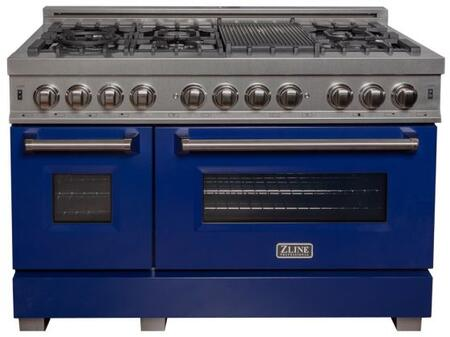 """RAS-BG-48 48"""" Blue Gloss Professional Natural Gas Dual Fuel Range with 6 Italian Burners 6 cu. ft. Capacity Oven Griddle Cast Iron Grates and Dual"""
