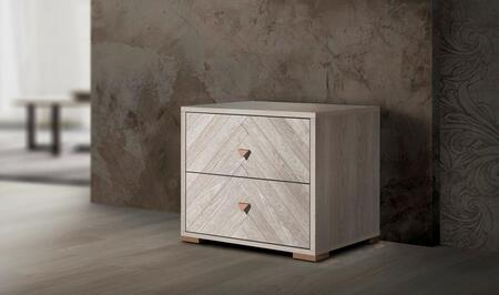 Florence Collection FLORE-NS-WOM-25 24″ Nightstand with 2 Soft Closing Drawers and Metal Handles in White Oak Matt