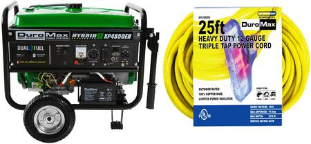 XP4850EH 4850 Watt Dual Fuel Hybrid Generator with XPC12025C 25-Foot 12 Gauge Triple Tap Extension Power Cord Arctic