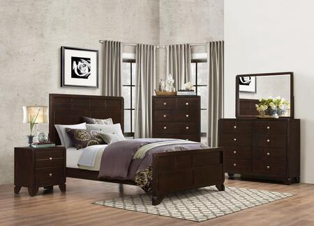 Phoenix Collection PH28QNMDR 5-Piece Bedroom Set with Queen Bed  Nightstand  Chest  Mirror and Dresser in Cherry