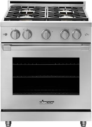 Dacor Heritage HGPR30CNG Freestanding Gas Range Custom Color, HGPR30CNG Shown in Stainless Steel