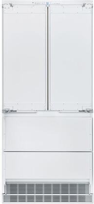 36″ French Door Refrigerator with 80″ Height Door Panels and Oval Handle in Stainless