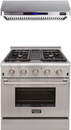 "Professional Series 2 Piece Kitchen Appliances Package with KRD306FLP 30"" Liquid Propane Gas Dual Fuel Range and KRH3001U 30"" Digital Control Hood in"