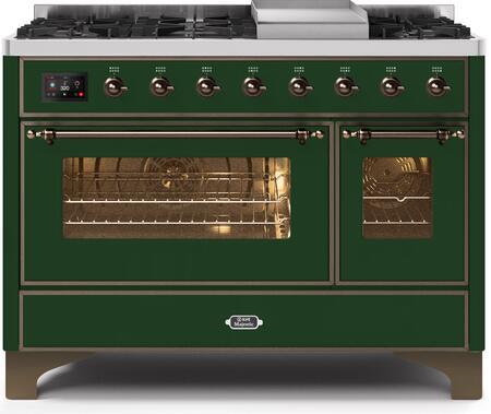 Ilve Majestic II UM12FDNS3EGBLP Freestanding Dual Fuel Range Green, UM12FDNS3EGB Dual Fuel Range