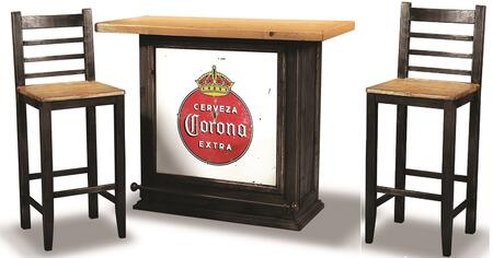 Sunset Trading Party Bar HH80455003PC Bar Table Set Brown, 3 PC Set