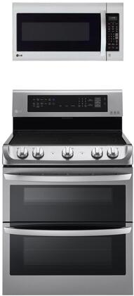 """2 Piece Kitchen Appliances Package with LDE4413ST 30"""" Electric Range and LMV2031SS 30"""" Over the Range Microwave in Stainless"""