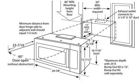 GE  JVM3162DJ Over The Range Microwave , Dimension Diagram