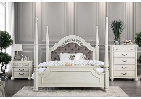 Furniture of America Fantasia CM7427EKBNC Bedroom Set White, CM7427EKB-NC