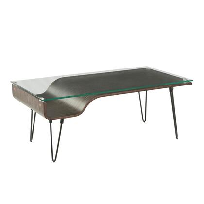 Avery Collection CT-AVERYDGY Coffee Table with Tempered Glass Top  Mid-Century Modern Style and Hairpin Legs in Dark Grey
