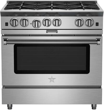 "BlueStar Platinum BSP366BL Freestanding Gas Range Stainless Steel, 36"" Platinum Series Range"